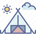 camping, forest, outdoors, tent icon
