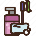 adventure, camping, hotel, shampoo, soap, toiletries, toothbrush icon