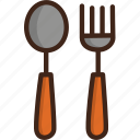 adventure, camping, fork, picnic, restaurant, spoon, utensils