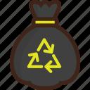 adventure, bag, camping, picnic, recycle, trash, trash bag