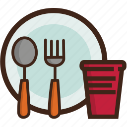 adventure, camping, cup, fork, plate, spoon, utensils icon