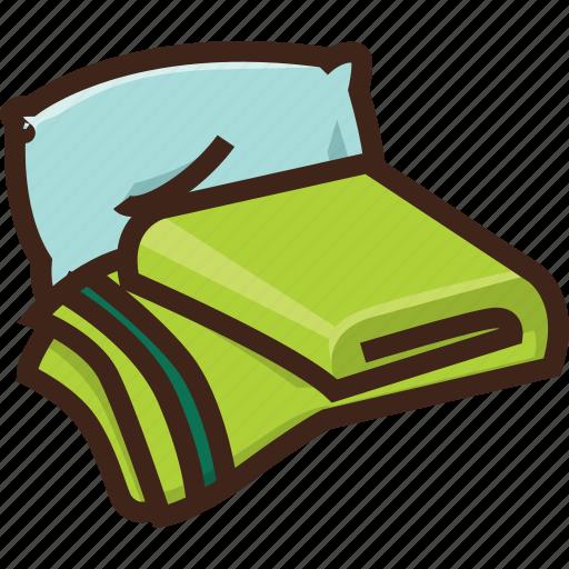 blanket, hostel, hotel, pillow, sleep, travel icon