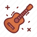 acoustic, camping, guitar, instrument, music icon