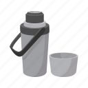 cartoon, cup, grey, steel, thermos, travel, warm icon