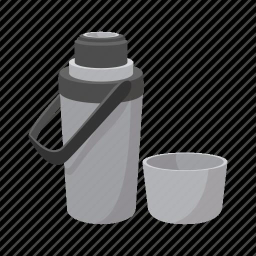 cartoon, cup, grey, steel, thermos, travel, warm icon
