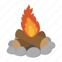 camp, campfire, cartoon, fire, flame, heat, wood icon