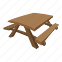 benches, cartoon, park, picnic, table, wood, wooden icon