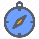 camping, compass, direction, navigation, tool icon