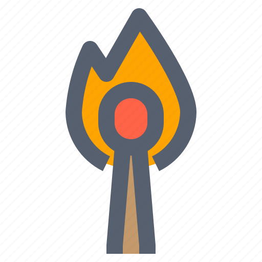 camping, fire, flame, match, matches, tool icon