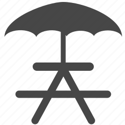 bbq, bench, camping, outdoor, picnic, table, umbrella icon