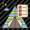 camping, checklist, outdoor, travel icon
