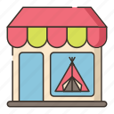 camping, shop, store, tent icon
