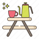 camping, coffee, furniture, table icon
