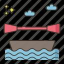 camping, canoe, sea, travel icon