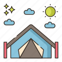 camping, canopy, tent, travel icon