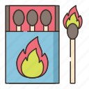 burn, fire, flame, matches icon