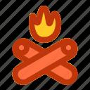 bonfire, camp, camping, fun, holiday icon