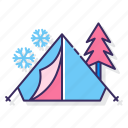 camping, snow, tent, winter icon