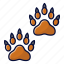 animal, bear, footsteps, trace icon