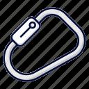 carabiner, climbing, mountain, snap hook icon
