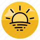 morning, summer, sundown, sunlight, sunrise, sunset, sunshine icon