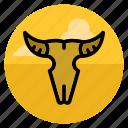 bones, bull, cow, death, desert, skull, wild west icon