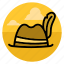 feather, hat, head, tourist, traveler, traveller, voyager icon