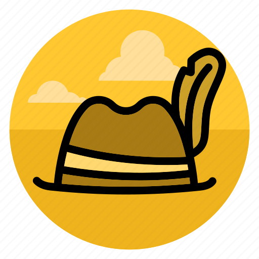 feather, hat, head, tourist, traveler, traveller, voyager icon