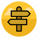 arrow, derection, divarication, navigation, road, sign, way icon
