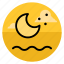 beach, moon, night, ocean, sea, summer, vacation icon