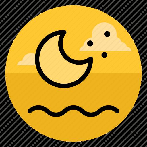 beach, moon, night, ocean, sea, summer, vacation icon