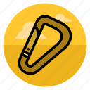 carabine, carabiner, climb, climbing, karabiner, mountain, safety icon