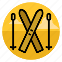 ski, ski running, skier, skiing, snow, sport, winter icon