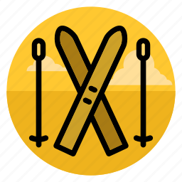 ski, ski running, skier, skiing, snow, sport, winter icon