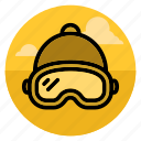 beanie, glasses, goggles, mask, skiier, snowboard, snowboarding icon