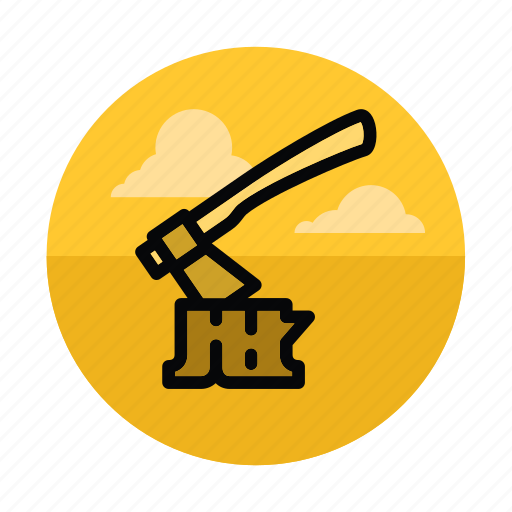 axe, camping, forest, lumber, lumberjack, stump, wood icon