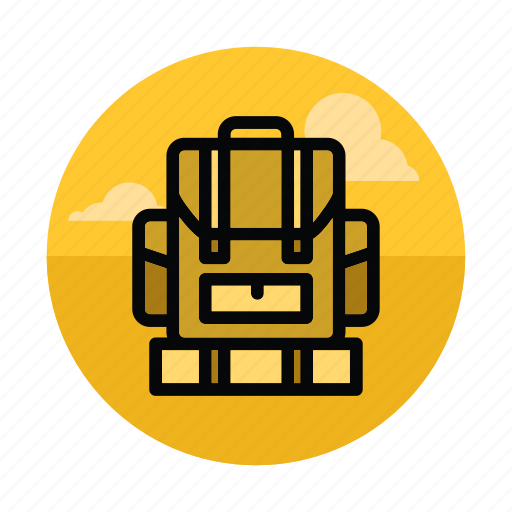 backpack, bag, camping, education, hiking, outdoors, tourism icon