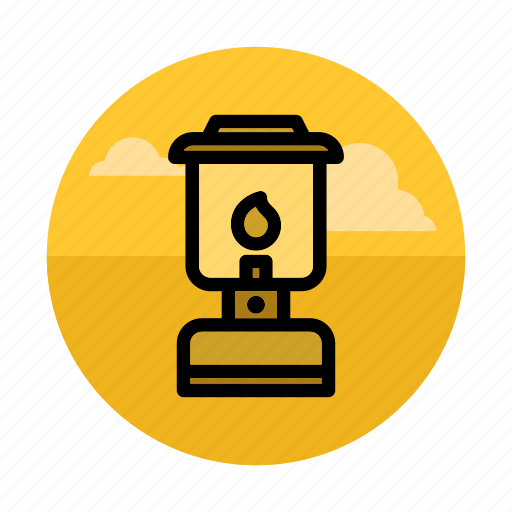 camping, fire, gaslight, lamp, light, night, outdoors icon