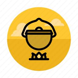 bonfire, bowler, campfire, camping, cooking, kitchen, outdoor icon
