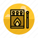 burn, campfire, camping, fire, matches, outdoors, smoking icon