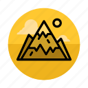 landscape, mountain, mountaineering, mountains, outdoors, sport, sun icon