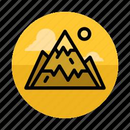 landscape, mountain, mountaineering, mountains, outdoors, sport, sun icon