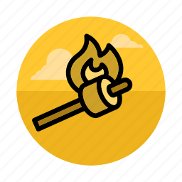 camping, food, grill, marshmallows, outdoors, picnic, roasting icon