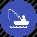 fisherman, fishing, lake, landscape, nature, river, water