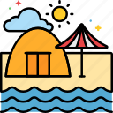 beach, camping, sea, stay, tent icon
