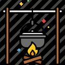 campfire, cooking, bonfire, food, outdoor icon