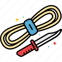 camping, knife, rope, supplies icon