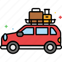 baggage, camping, car, travel icon