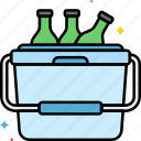 bottles, camping, cooler, picnic icon