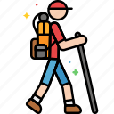 backpack, hiking, stick, walking icon